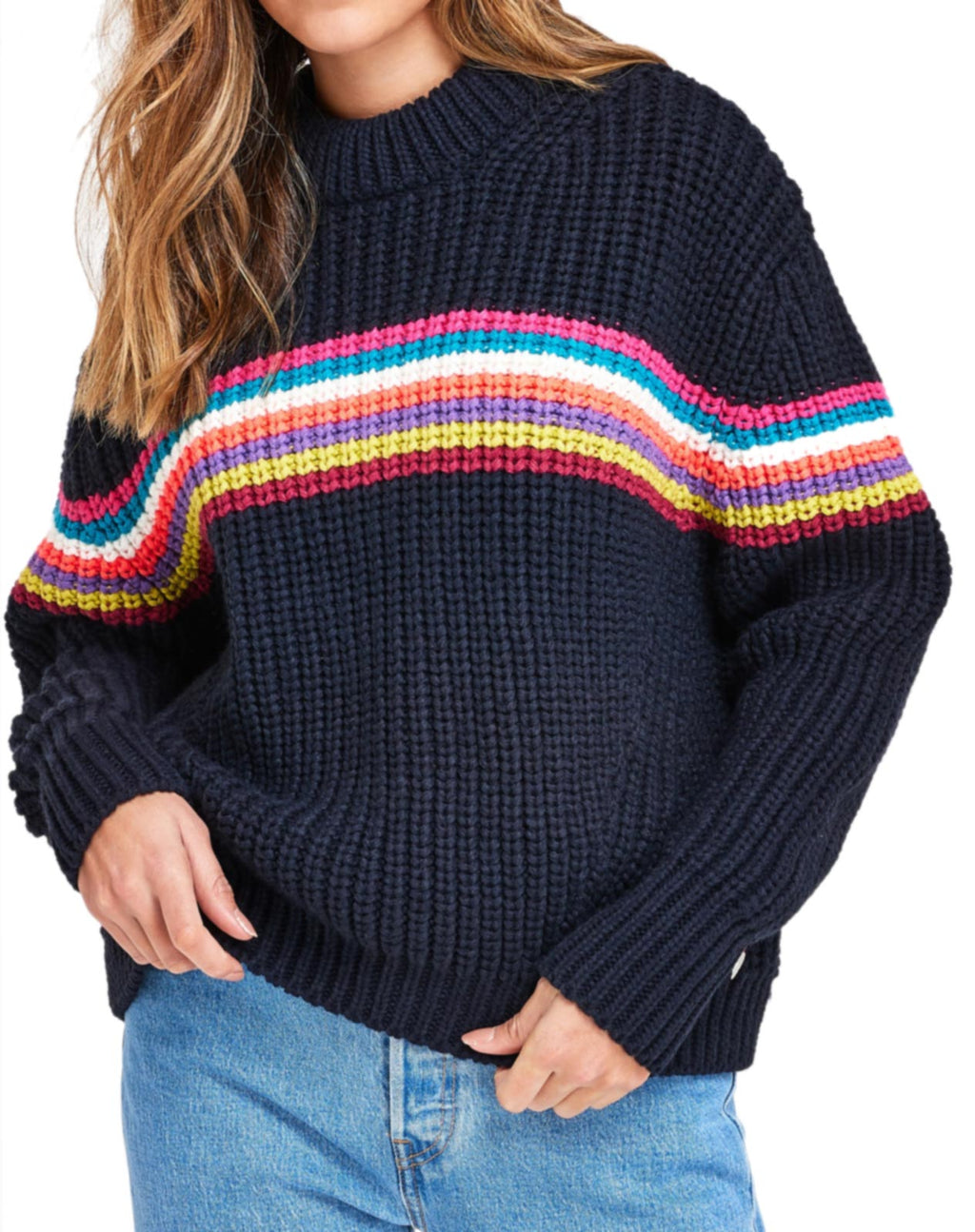 Superdry Neon Stripe Ribbed Jumper Navy