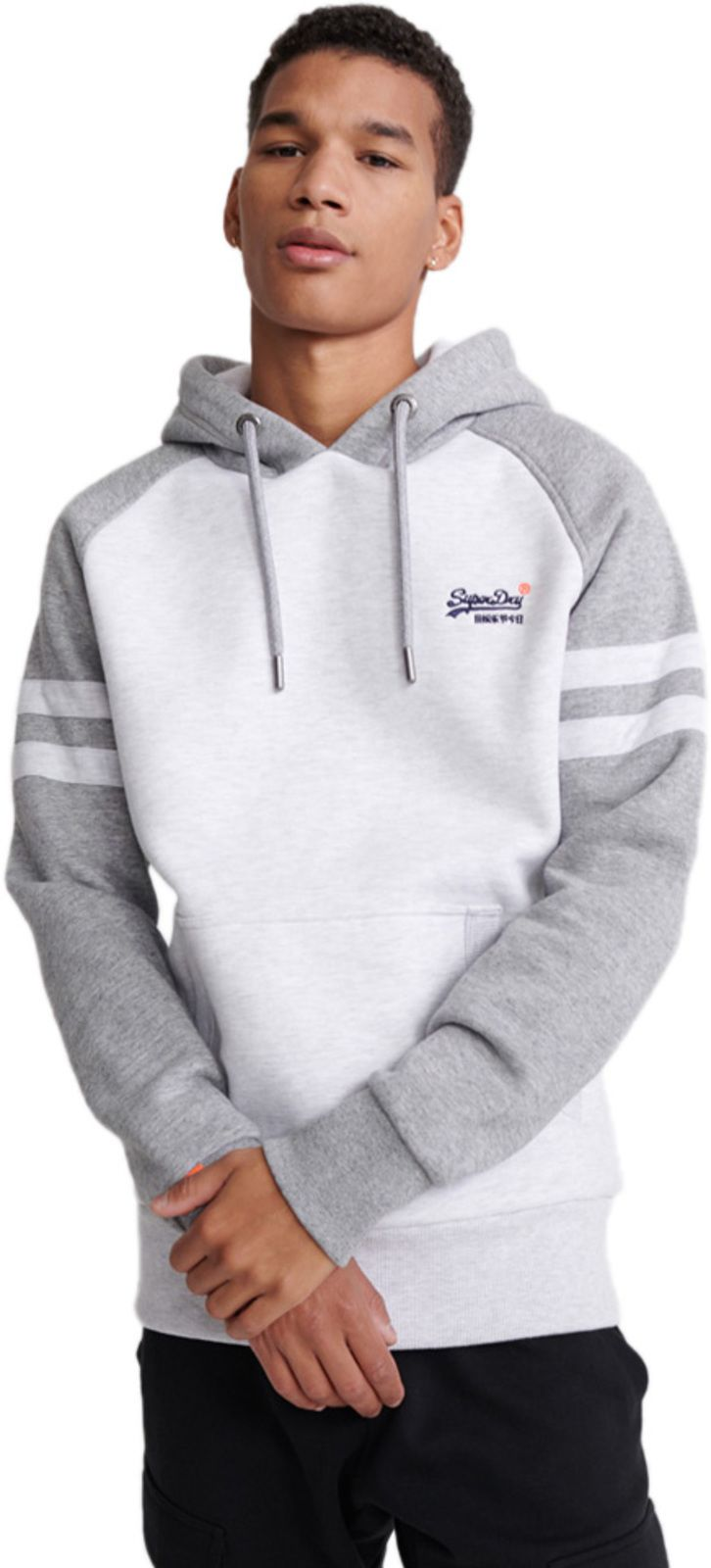 Superdry Orange Label Classic Raglan Hoodie Light Grey