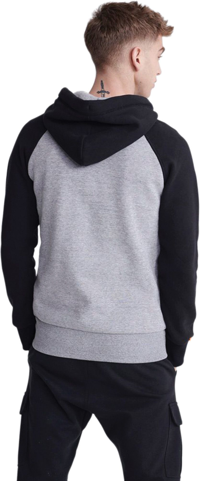 Superdry Orange Label Classic Raglan Zip Hoodie Charcoal