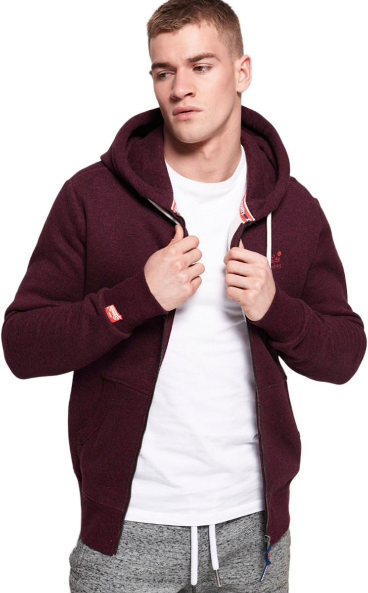 Superdry Orange Label Classic Zip Front Hoodie Red