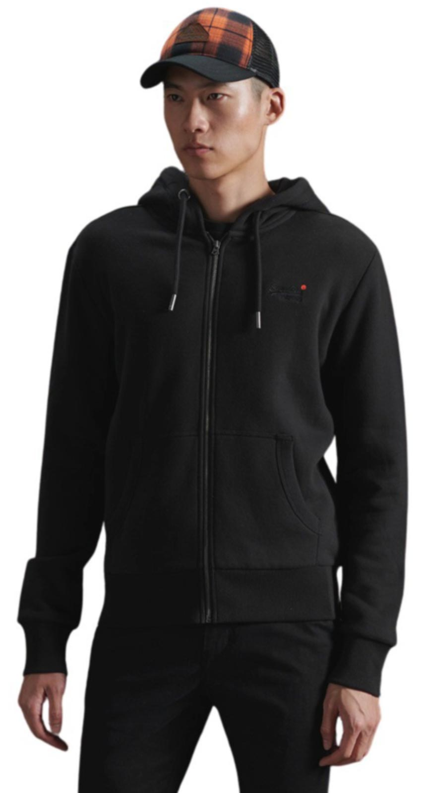 Superdry Orange Label Classic Zip Hoodie Black
