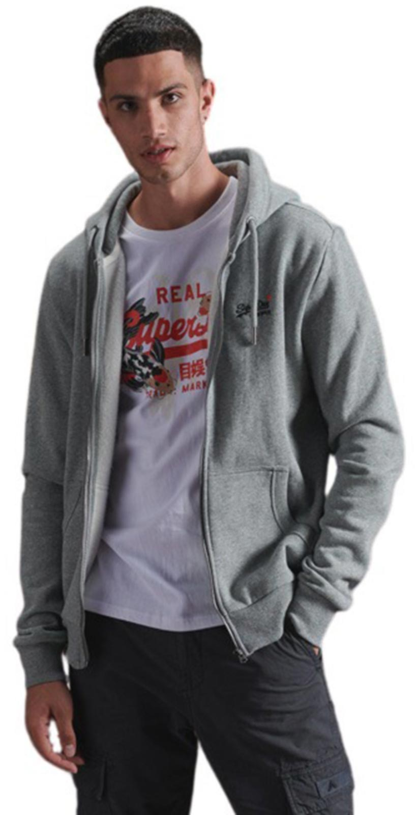 Superdry Orange Label Classic Zip Hoodie Grey