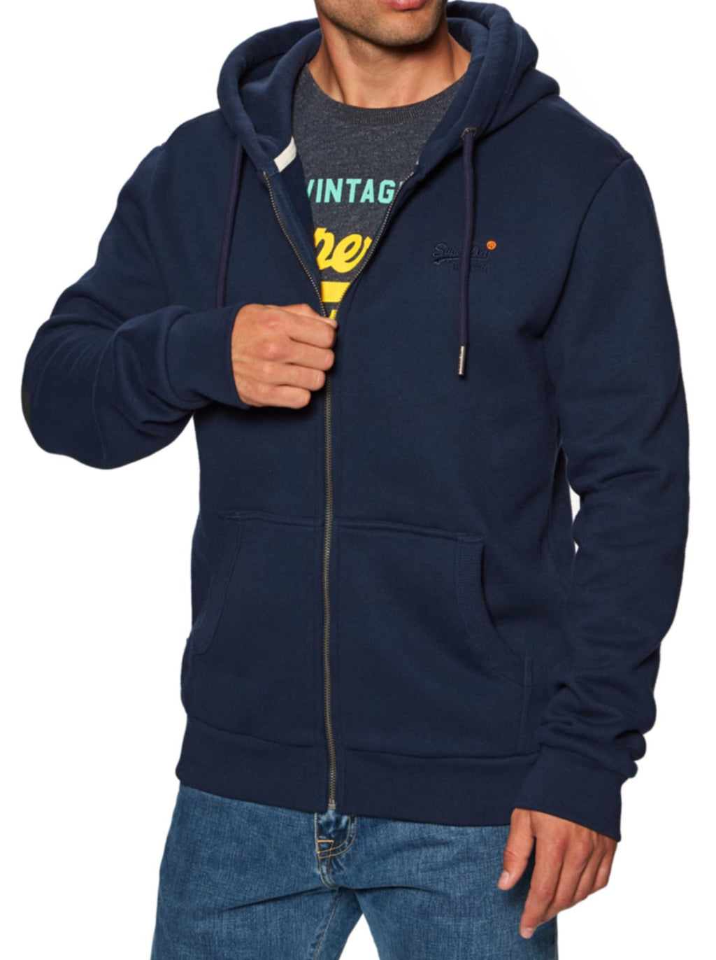 Superdry Orange Label Classic Zip Hoodie Navy