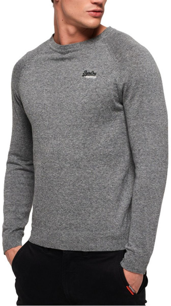 Superdry Orange Label Cotton Knit Jumper Grey