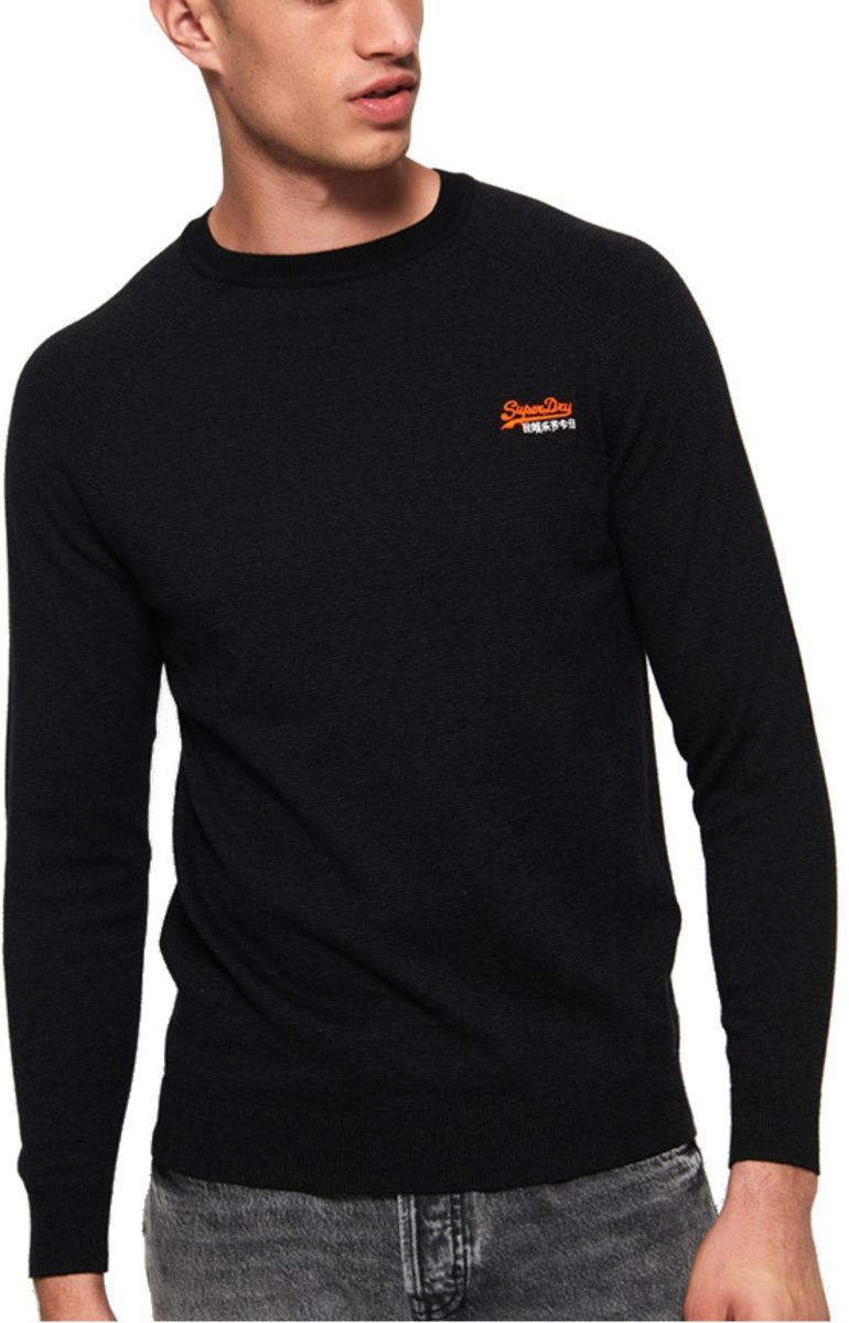 Superdry Orange Label Cotton Knit Jumper Charcoal
