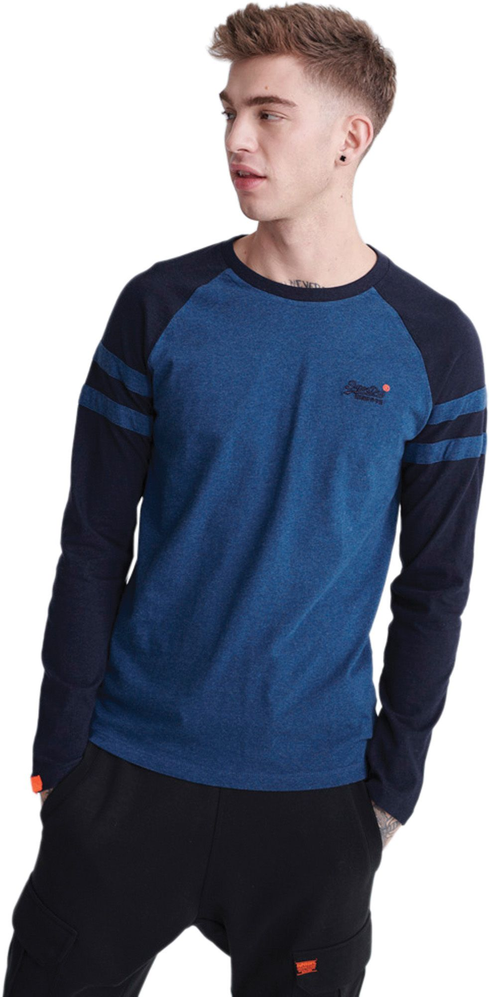 Superdry Orange Label Softball Ringer Long Sleeve T-Shirt Blue