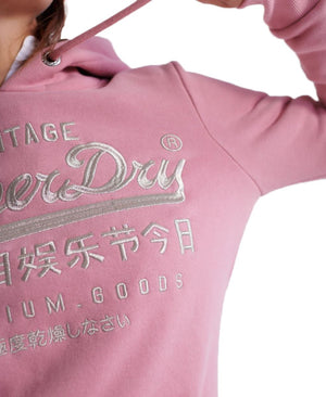 Superdry Premium Goods Luxe Embroidered Hoodie Pink Nectar