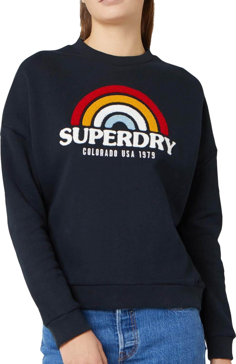 Superdry Raven Panelled Sweatshirt Navy