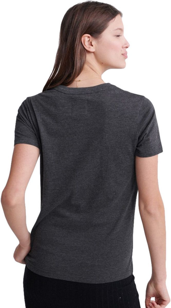 Superdry Real Original Glitter Embossed T-Shirt Charcoal