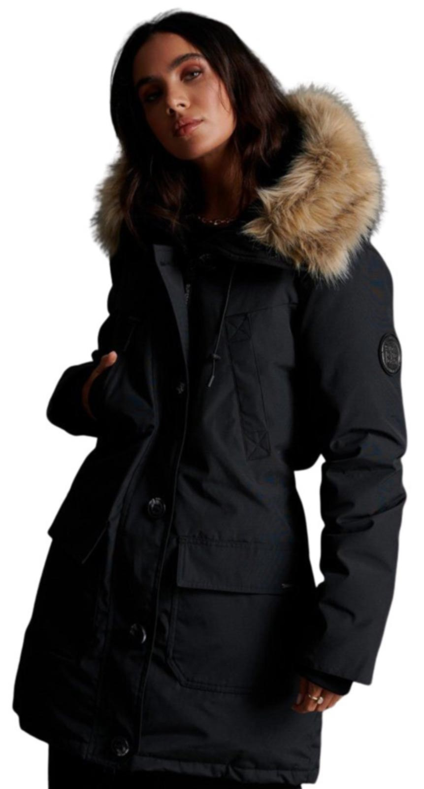 Superdry Rookie Down Parka Jacket Black