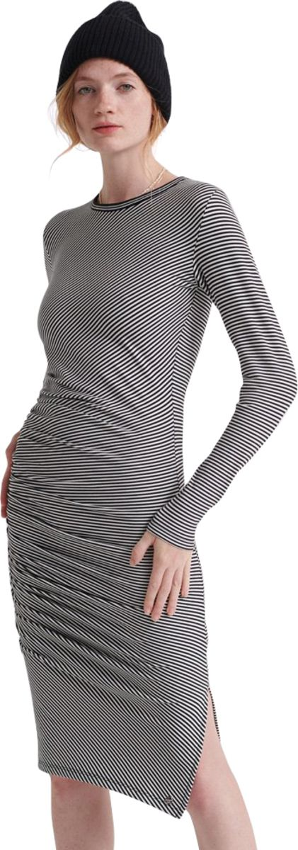 Superdry Rouched Long Sleeve Midi Dress Black Stripe