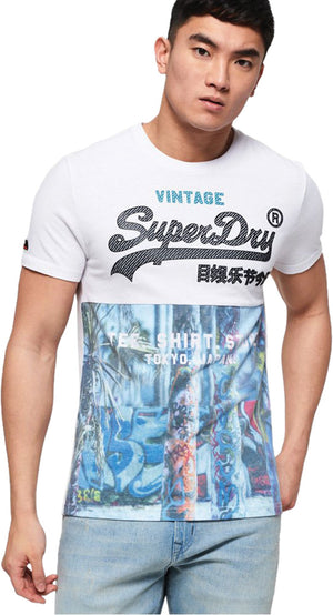 Superdry Shirt Shop Panel T-Shirt White