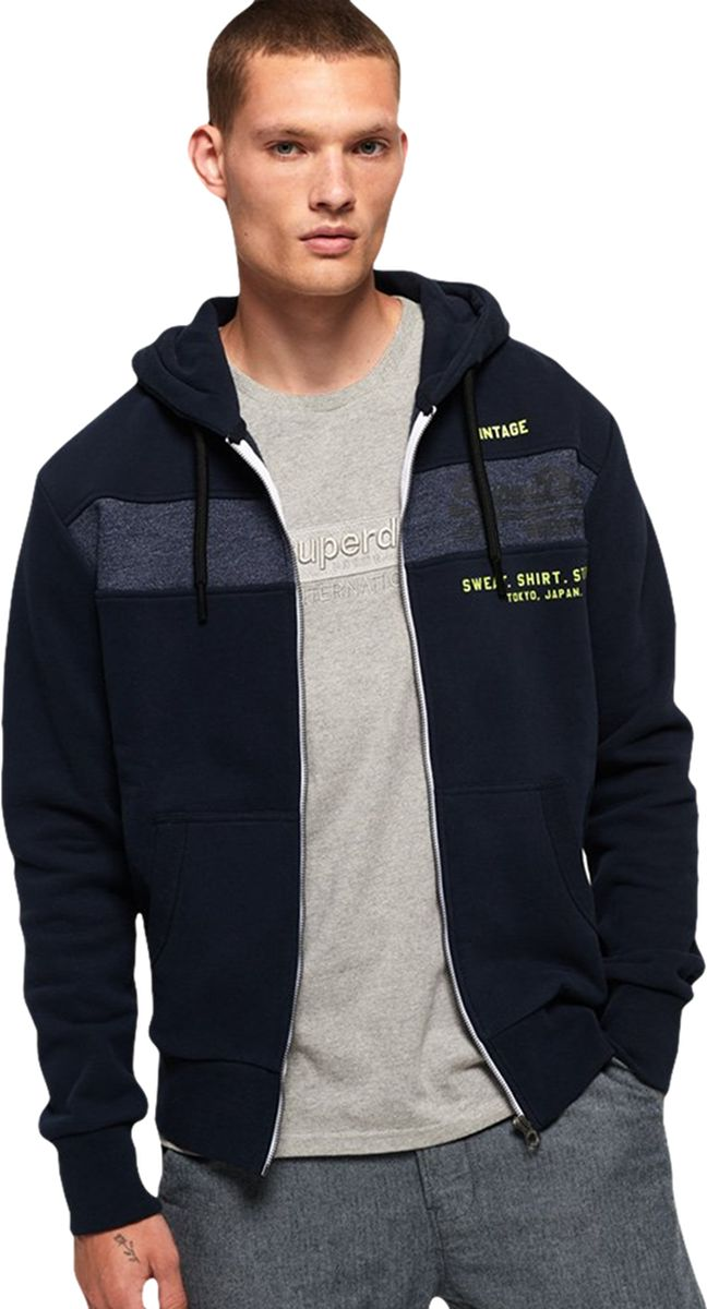 Superdry Sweat Shirt Shop Magma Panel Zip Front Hoodie Navy