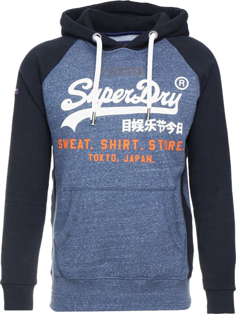 Superdry Sweat Shirt Store Raglan Hoodie Blue