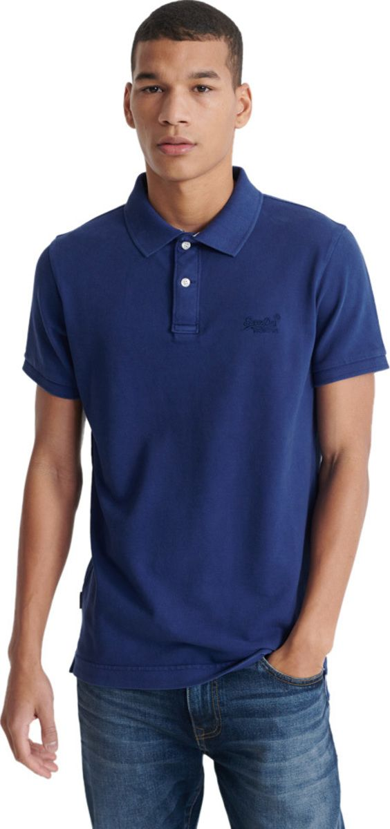 Superdry Vintage Destroyed Pique Short Sleeve Polo Shirt Blue