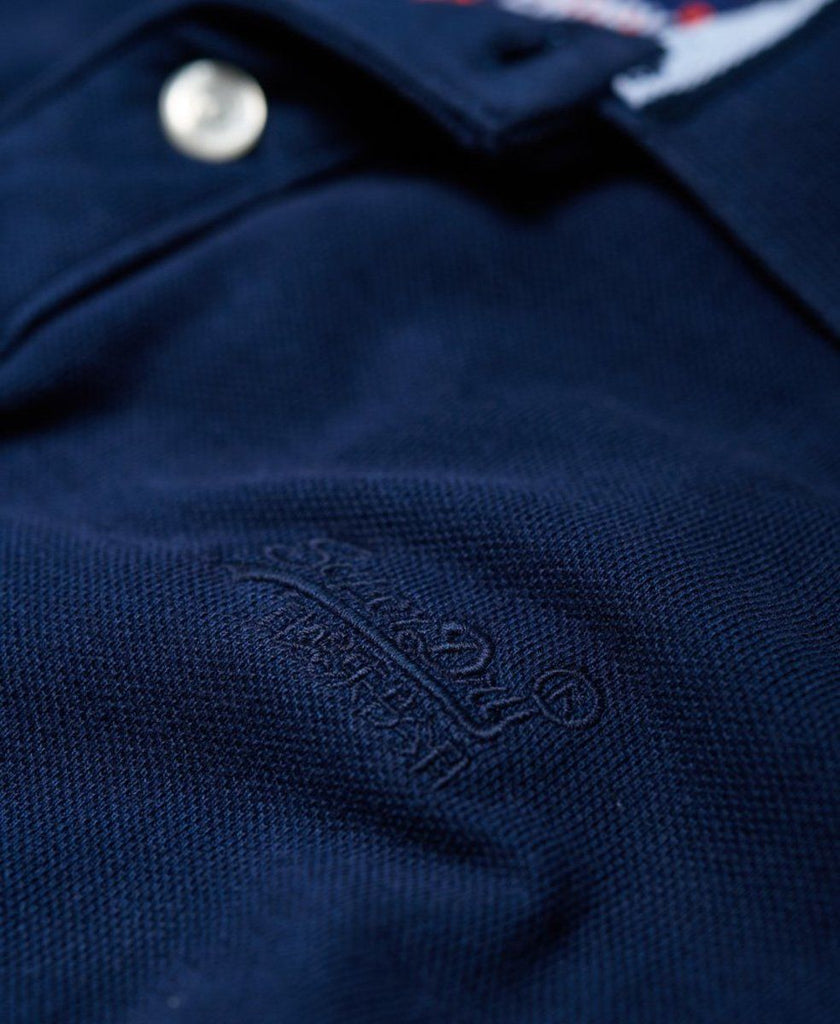 Superdry Vintage Destroyed Polo Shirt Blue