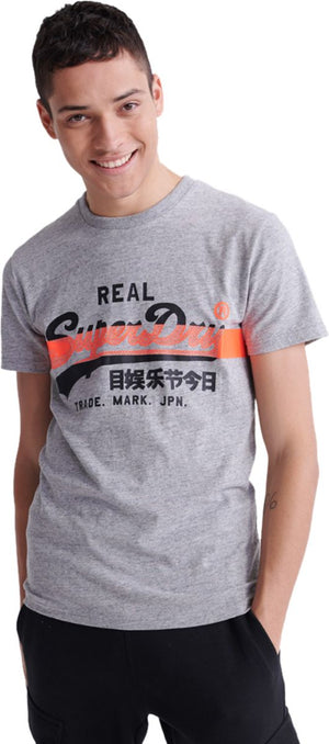 Superdry Vintage Logo Cross Hatch T-Shirt Grey