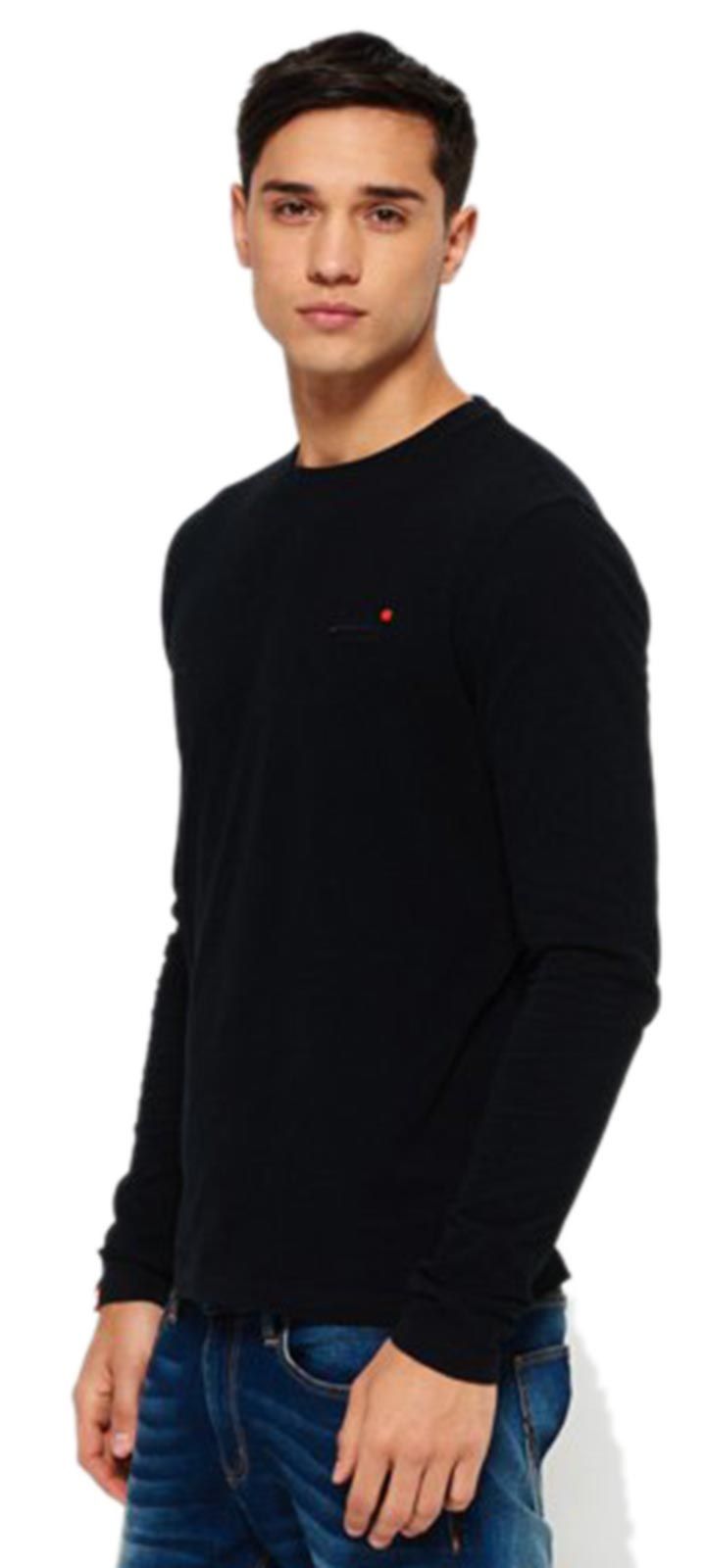 Superdry Vintage Logo Embroidered Long Sleeve T-Shirt Black