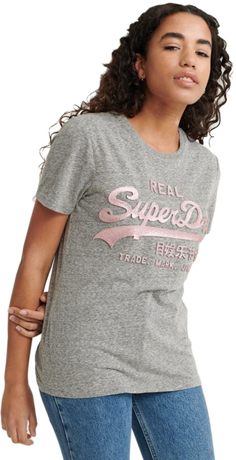 Superdry Vintage Logo Glitter Emboss T- Shirt	Charcoal Rugged