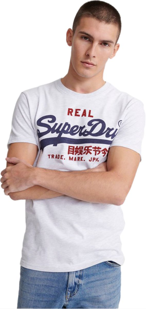 Superdry Vintage Logo Heat Sealed T-Shirt Light Grey