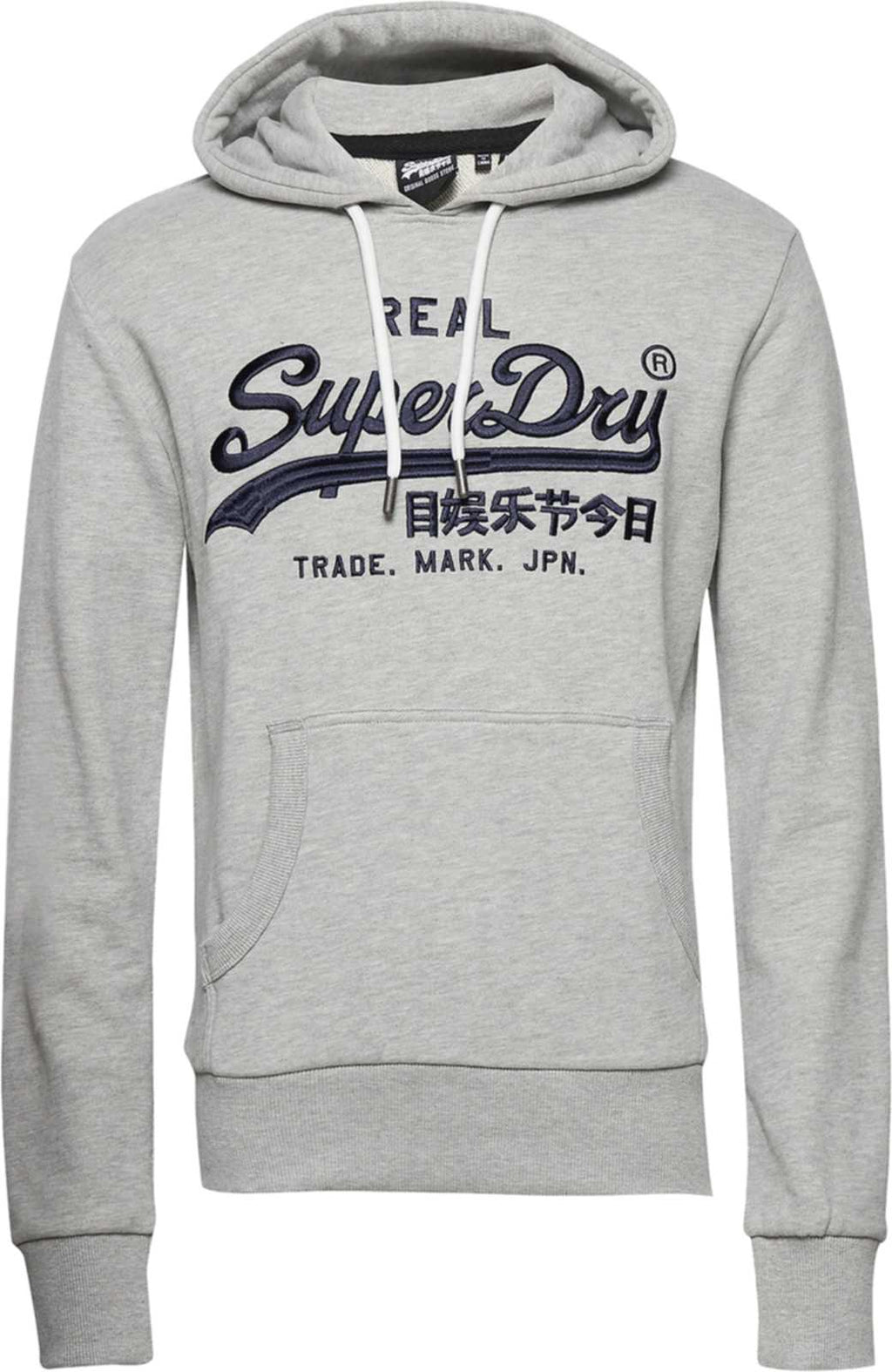Superdry Vintage Logo Mono Embroidered Hoodie Grey
