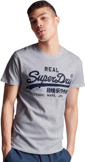 Superdry Vintage Logo Mono Embroidered T-Shirt	Grey Marl