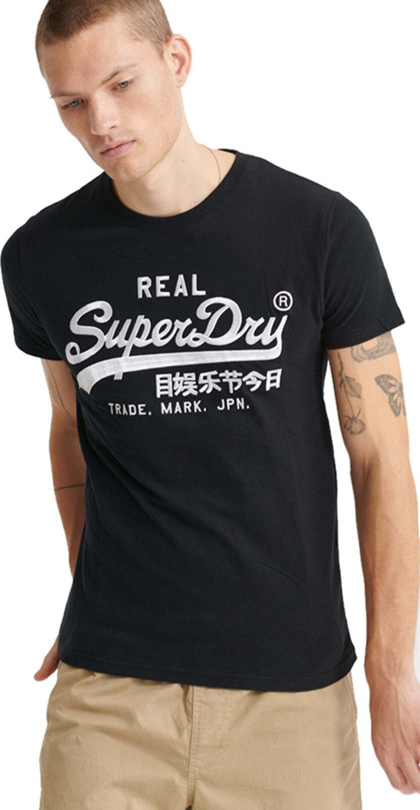 Superdry Vintage Logo Mono Embroidered T-Shirt Black