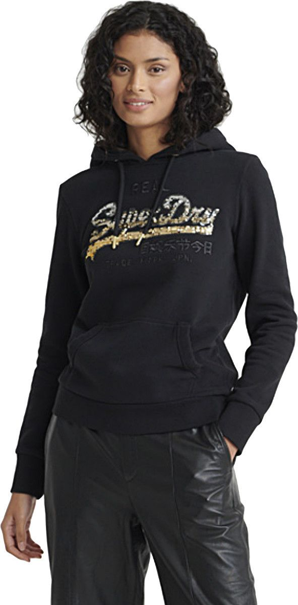 Superdry Vintage Logo Ombre Sequin Entry Hoodie Black