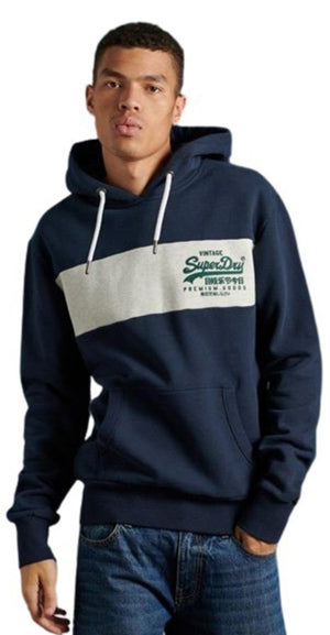 Superdry Vintage Logo Panel Hoodie	Atlantic Navy