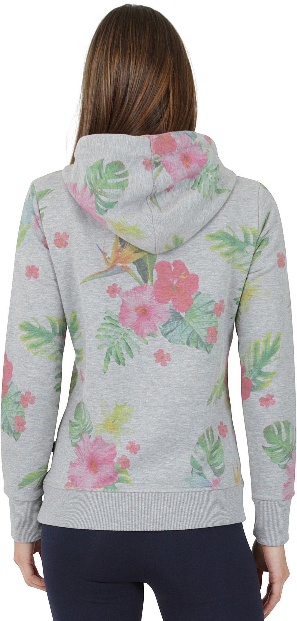 Superdry Vintage Logo Photo Tropical All Over Print Hoodie Grey Marl