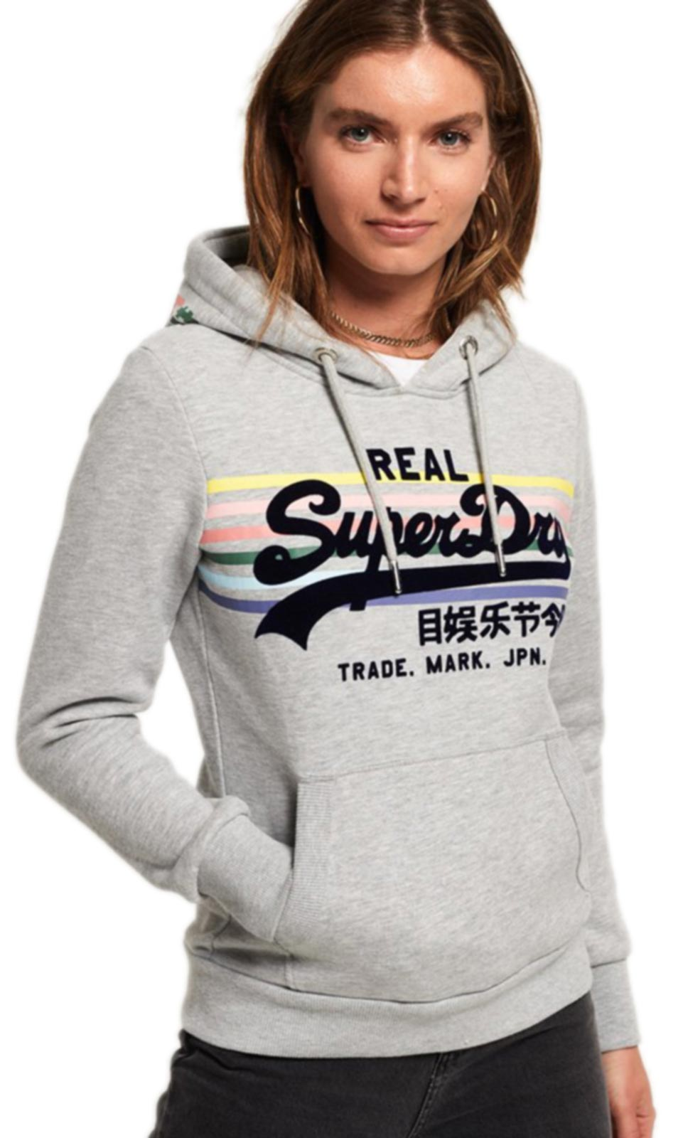 Superdry Vintage Logo Rainbow Stripe Hoodie Grey