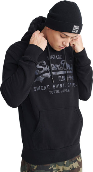 Superdry Vintage Logo Shirt Shop Bonded Hoodie Black