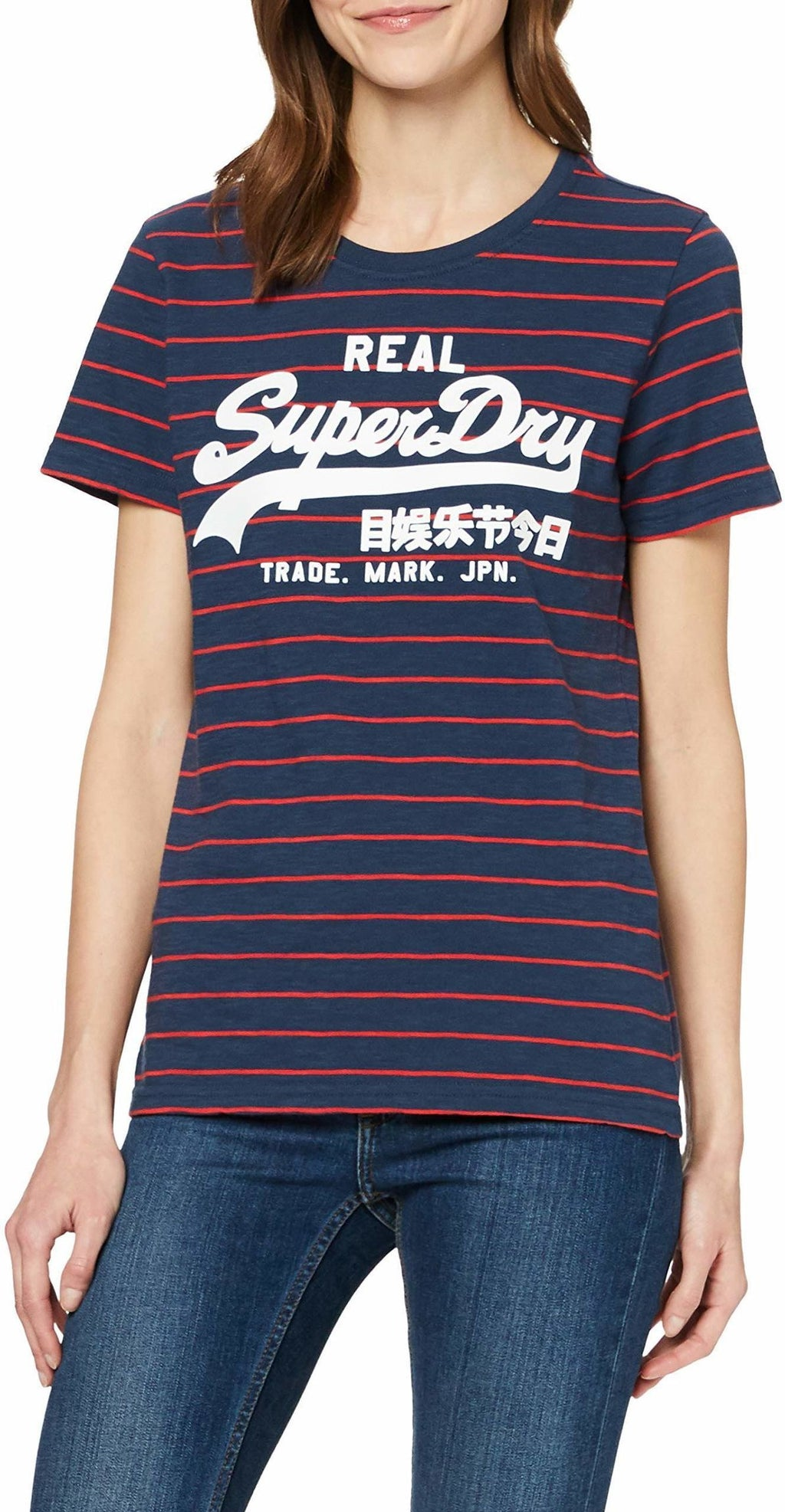 Superdry Vintage Logo Stripe T-Shirt Navy