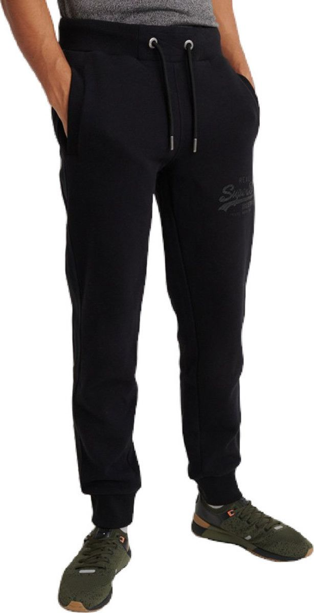 Superdry Vintage Logo Tonal Tape Jogger Bottoms Black
