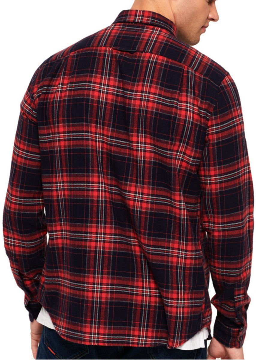 Superdry Winter Washbasket Long Sleeve Check Shirt Red