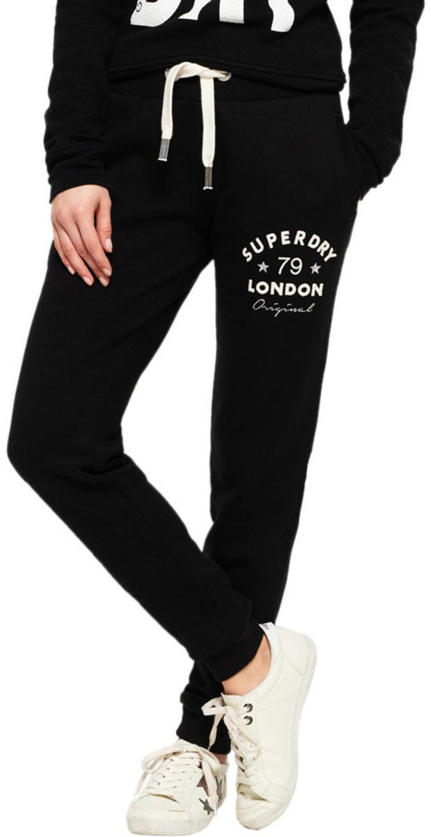 Superdry Women's Applique Slim Fit Jogger Bottoms Black