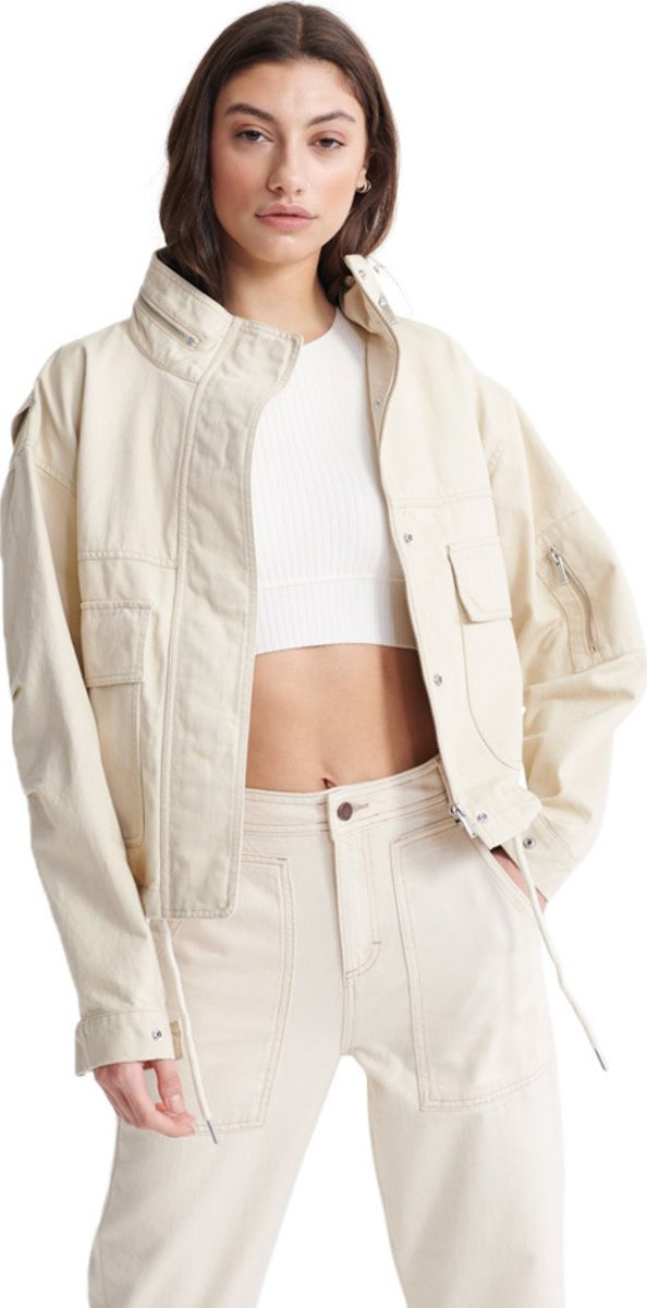 Superdry Women's Bora Cropped Jacket Off-White