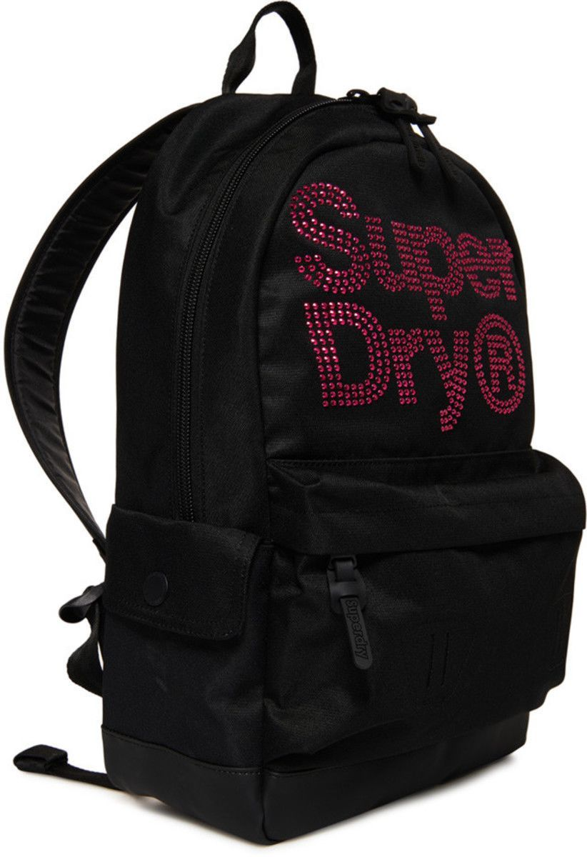 Superdry Lineman Rhinestone Montana Backpack Bag Black