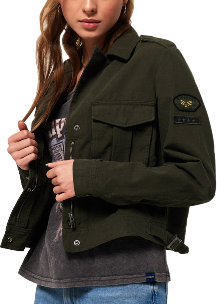 Superdry Women's Military Crop Jacket Green