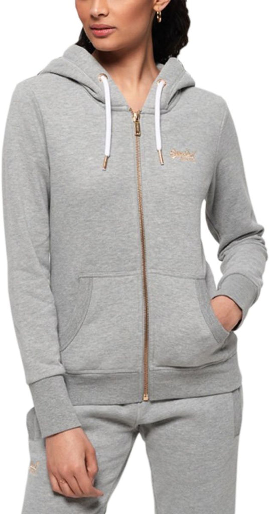 Superdry Women's Orange Label Elite Zip Front Hoodie Grey