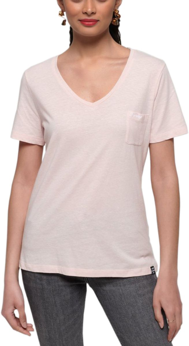 Superdry Women's Orange Label Essential V-Neck T-Shirt Pink