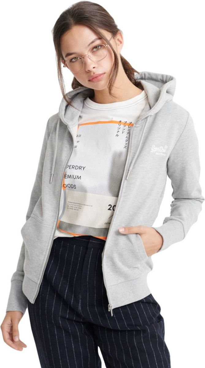 Superdry Women's Orange Label Zip Front Hoodie Grey