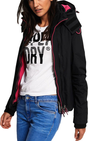 Superdry Women's Pop Zip Hooded Arctic SD-Windcheater Black