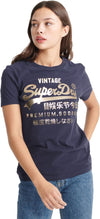 Superdry Women's Premium Goods Metallic T-Shirt Navy
