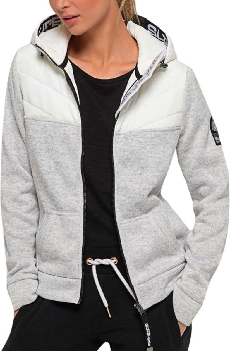 Superdry Women's SD Storm Half Hybrid Zip Hoodie Grey
