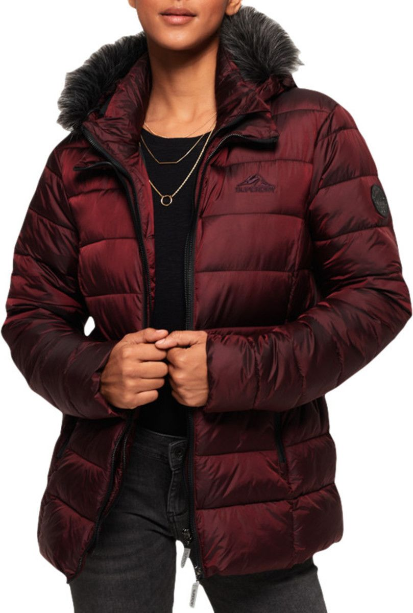 Superdry Womens Taiko Padded Faux Fur Jacket Red Dark Port - XS (UK 6-8)