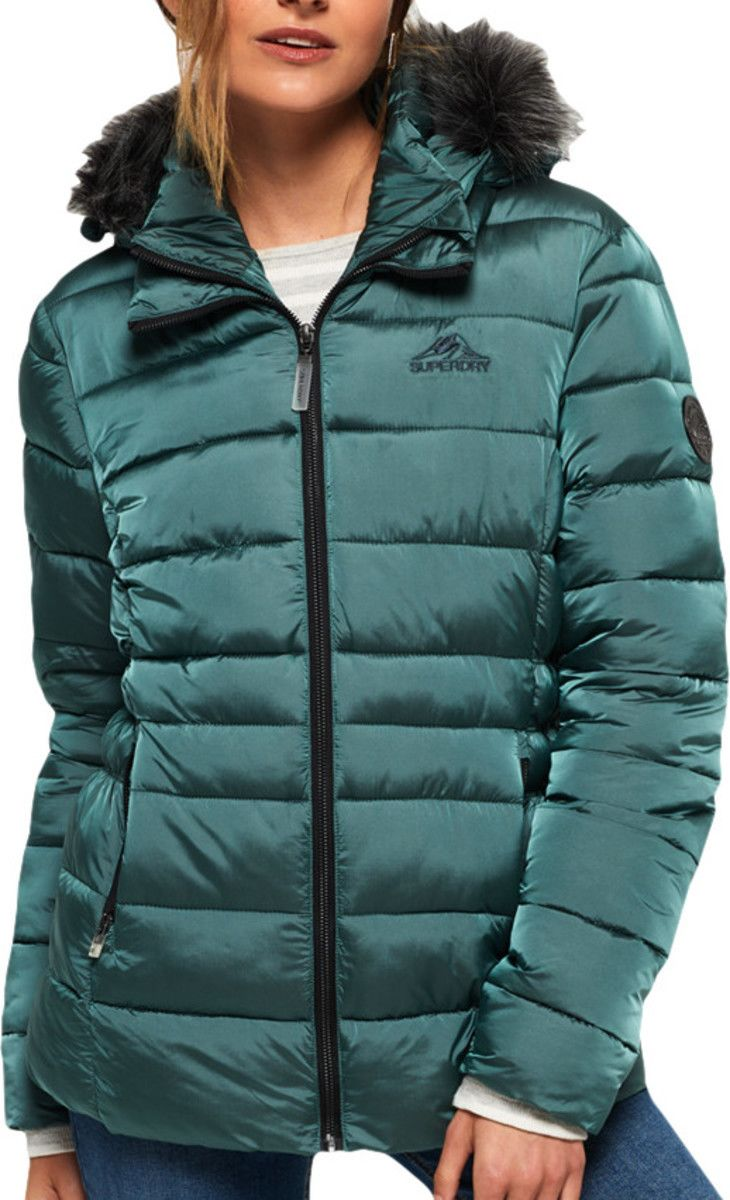 Superdry Womens Taiko Padded Faux Fur Jacket Green Dark Teal - L (UK 12-14)