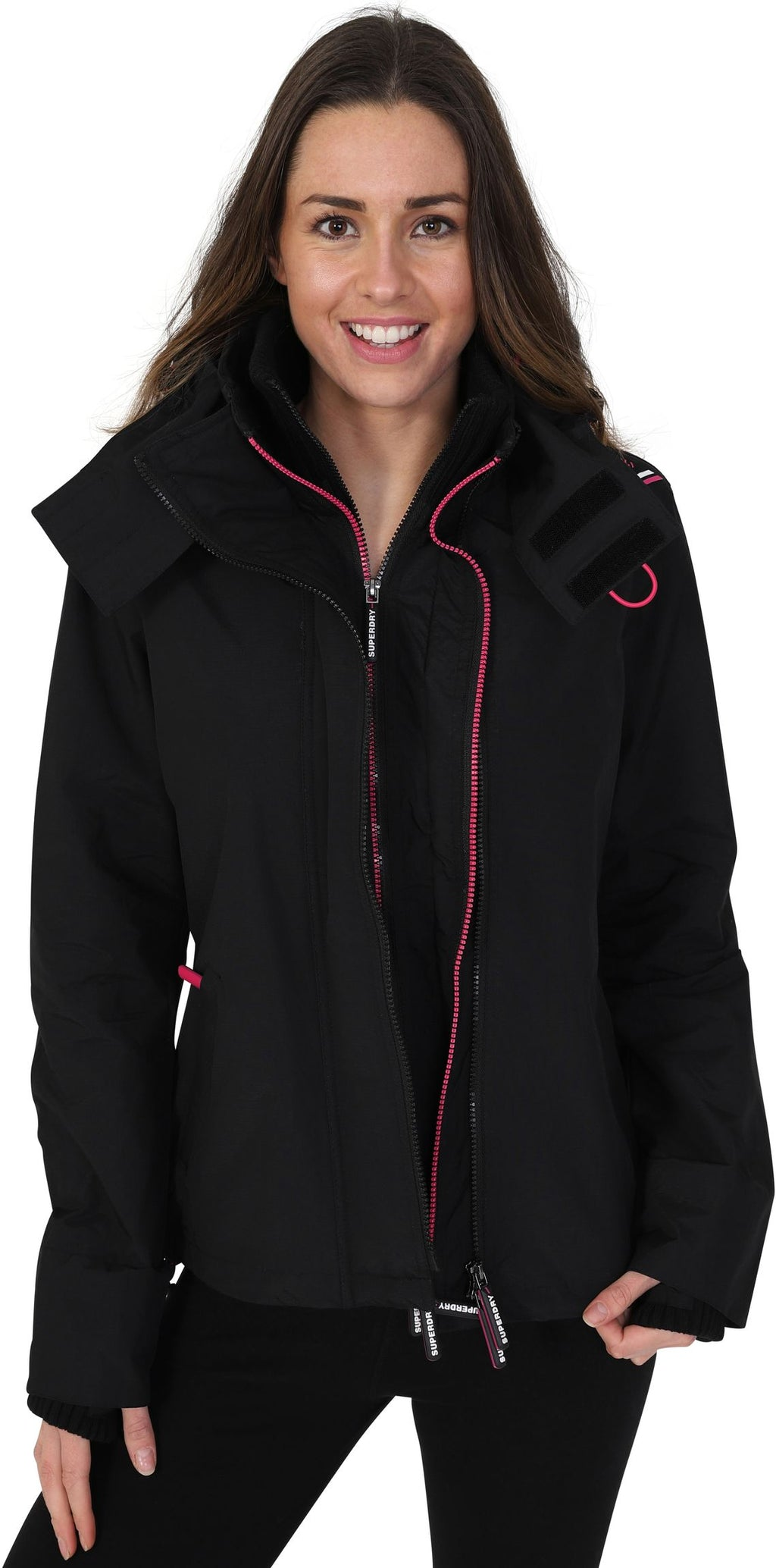 Superdry Women's Tech Pop Zip Hooded SD-Windcheater Black