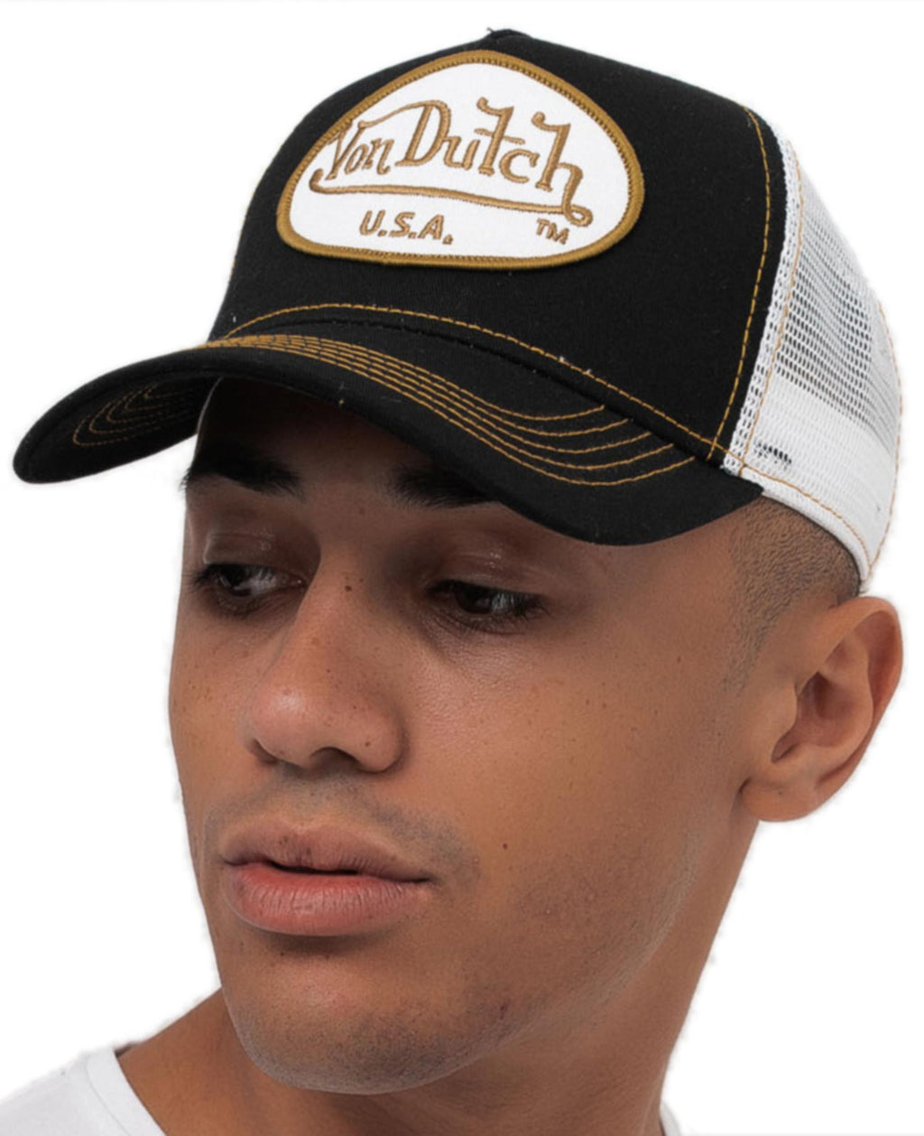 Von Dutch Trucker Snapback Baseball Cap	Black/Gold