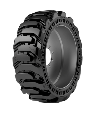 10-16.5 Solid Tire & Wheel Assembly, Maxam MS705, R-4 Traction, Apertures, Press-On, Left Side 53502A1L